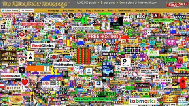 Imagem do site Million Dollar Homepage