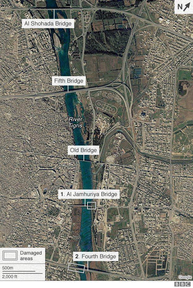 Satellite image of bridges in Mosul
