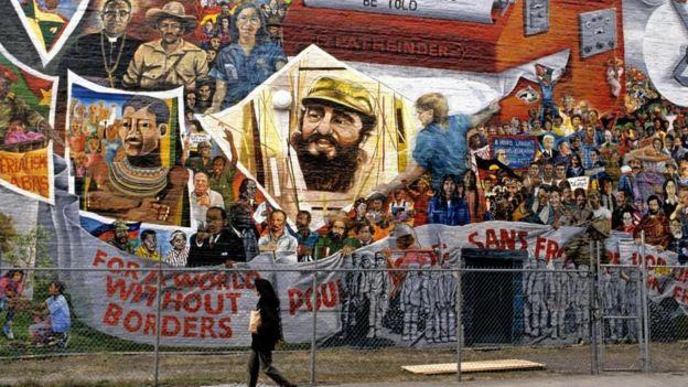Mural no Harlem, em Nova York, com imagem de Fidel Castro