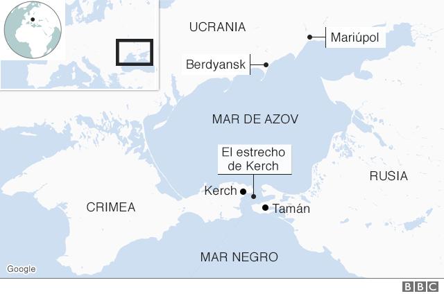 Mar de Azov, estrecho de Kerch y ubicación de los puertos de Mariúpol y Berdyansk. Fuente: BBC Mundo.