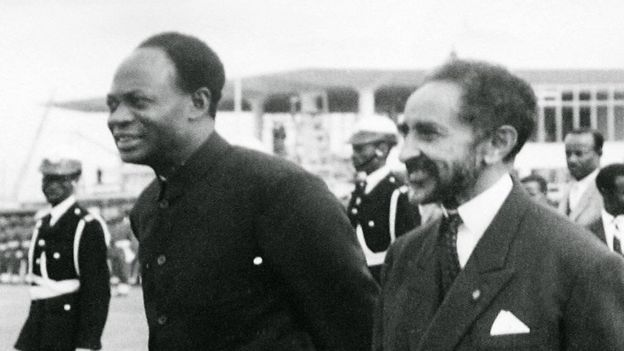 "The Ethiopian Emperor Haile Selassie (C) and Ghana""s founder and first President Kwame Nkrumah (L) during the formation of the Organization of African Unity in Addis Ababa. Ghana"