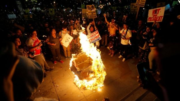 A Trump effigy is incinerated in Los Angeles