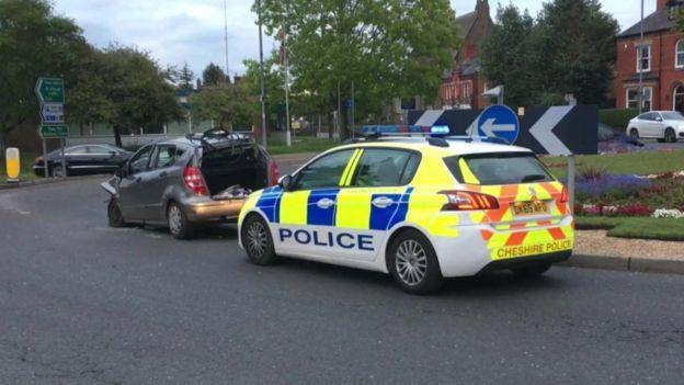 Scene of the crash at Obelisk Way, Congleton