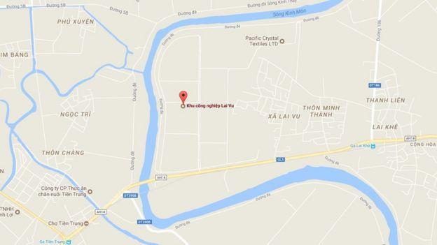 Sông Rạng bao quanh khu công nghiệp Lai Vu