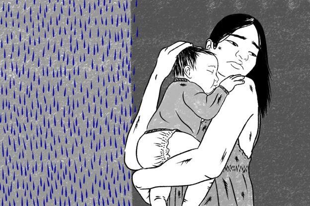Ilustração - Laura segurando o filho