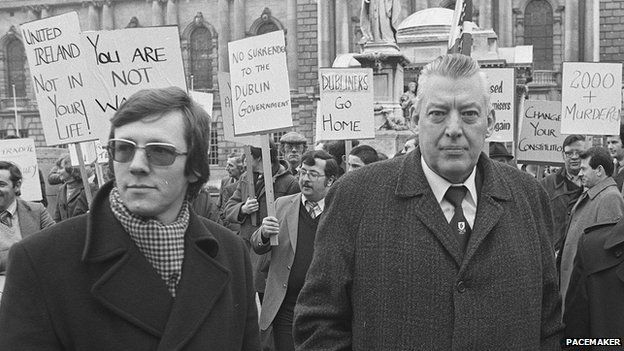 Peter Robinson with Ian Paisley at a protest in Belfast in 1981
