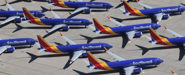 Boeing 737 Max 8 jets belonging to SouthWest Airlines