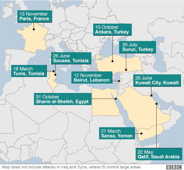 Paris attacks islamic state militants change tactics bbc news map showing locations of the bloodiest attacks linked to islamic state gumiabroncs Choice Image