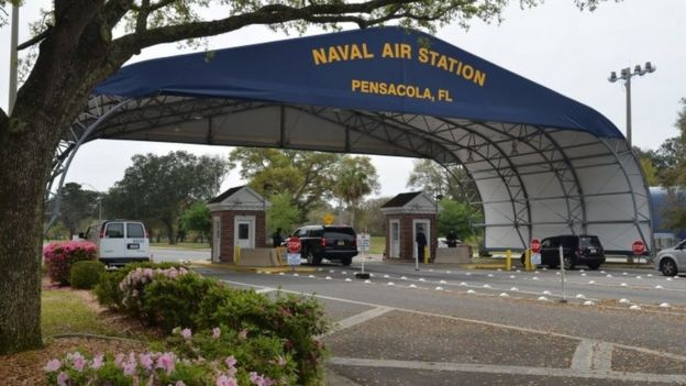 The main gate at Naval Air Station Pensacola, Florida. File photo
