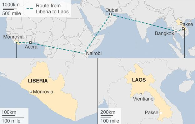 Map: Route from Liberia to Laos