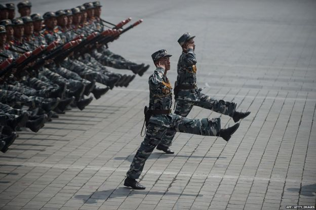 Goose-stepping North Korean soldiers