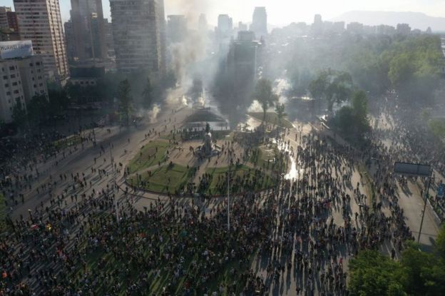 Plaza Italia protestas en Santiago.