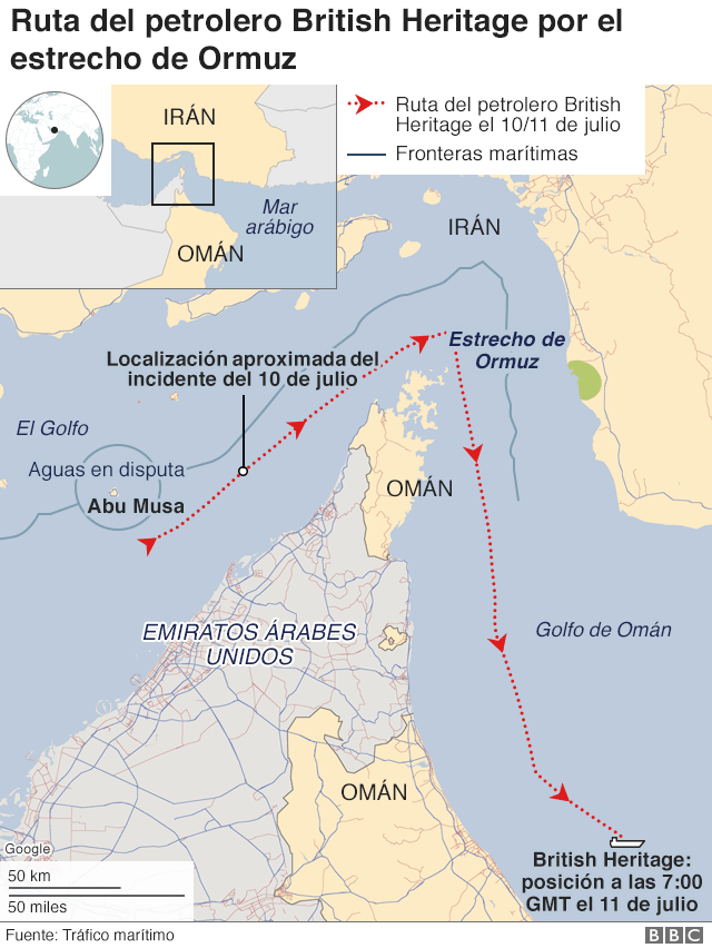 Posición del petrolero y buque de la marina británica en el momento del incidente.