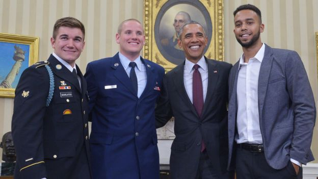 Alek Skarlatos, Spencer Stone and Anthony Sadler with President Obama