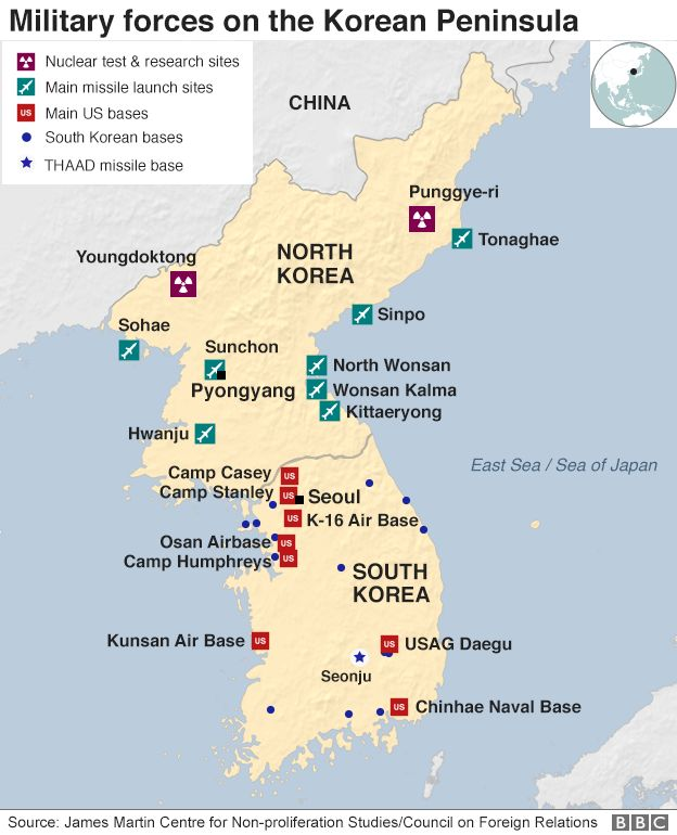 North koreas missile and nuclear programme bbc news map key bases on the korean peninsula gumiabroncs Images