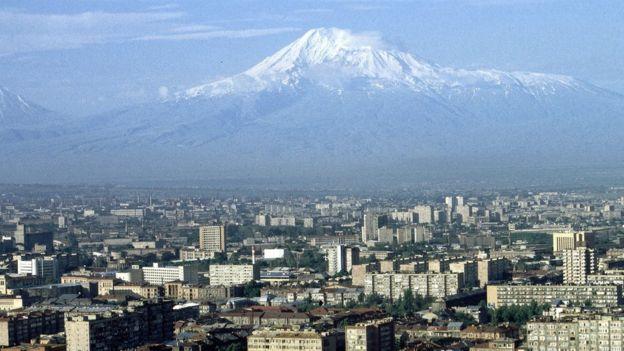 A view looking across the Armenian capital city of Yerevan towards Mount Ararat