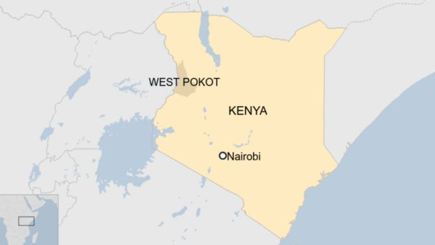 Map of Kenya showing West Pokot county and Nairobi