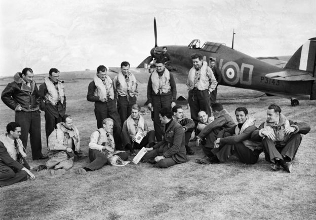 Members of 310 (Czechoslovak) Squadron at Duxford in September 1940