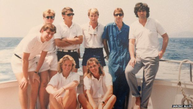 Janine Allis and fellow crew members of David Bowie's yacht