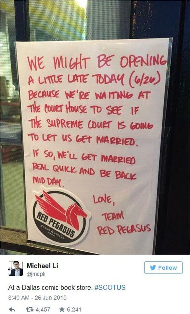 Michael Li tweets a sign at a Dallas comic book store that says the gay owners may be taking a break to get a marriage license if the court rules it legal.