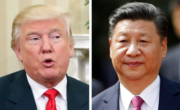 This combination of two 2016 file photos shows, US President-elect Donald Trump, left, talking with President Barack Obama at White House in Washington on 10 November, and China's President Xi Jinping arriving at La Moneda presidential palace in Santiago, Chile, on 22 November