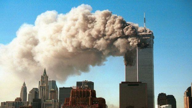 Incendio en las Torres Gemelas.