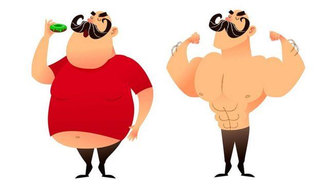 Ilustración de hombre gordo y después musculoso.