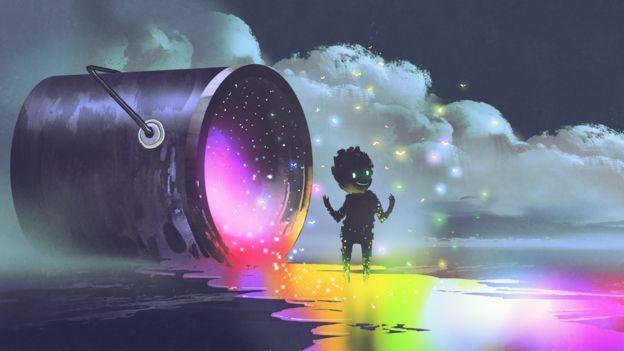 Ilustração mostra menino perto de uma lata gigante que despeja tinta iluminada sobre a superfície