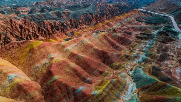 Colorful mountains in the Zhangye Danxia Geological National Park.