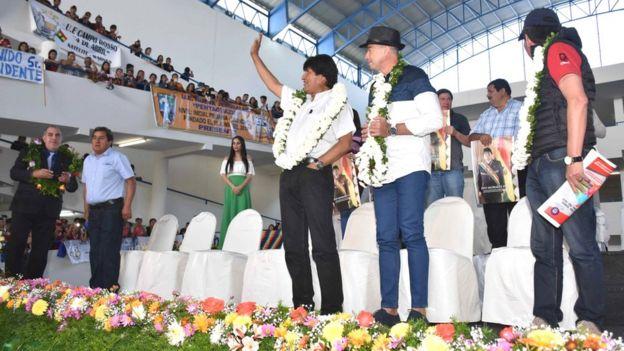 Evo Morales en centro comercial