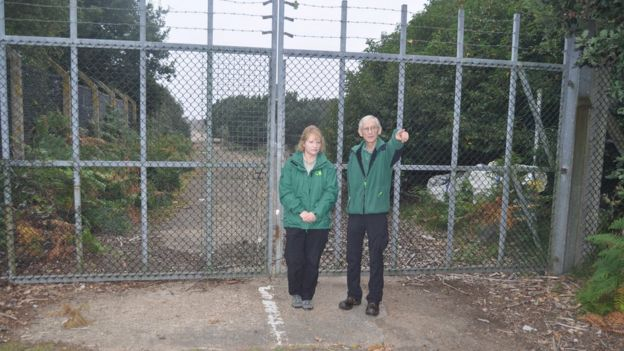 Forestry Commission staff at RAF Woodbridge's East Gate