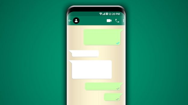 Phone screen with blank messages.