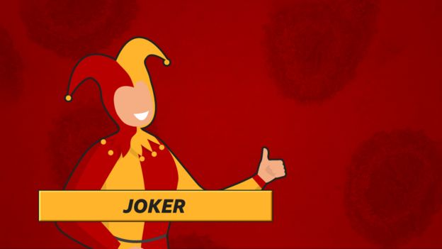 """Joker"": Jester in red and yellow on red background"