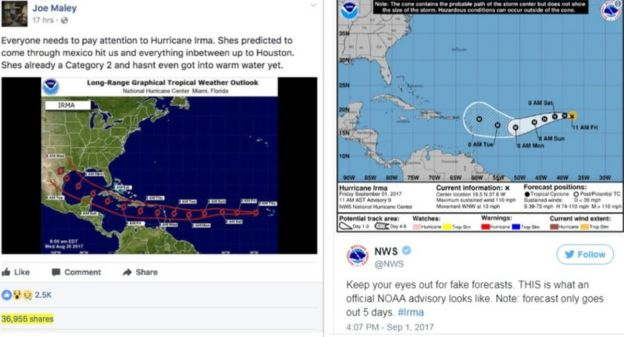 A popular Facebook post (L) posted a picture of Irma heading for Houston Texas. NOAA (R) tweeted a warning about fake forecasts with an official image of the hurricane's trajectory.