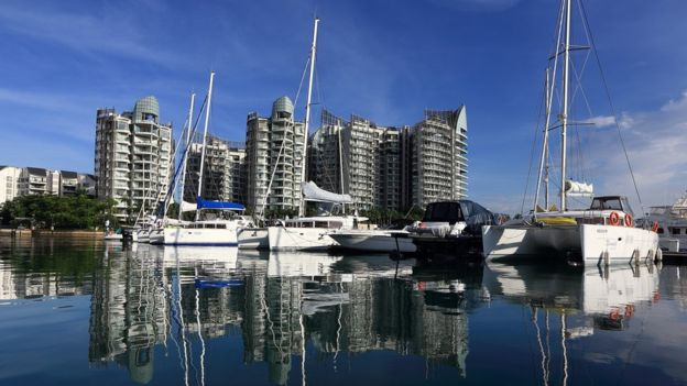 Boats and yachts berth at the ONEÂ¡15 Marina Club in Sentosa on November 29, 2013 in Singapore