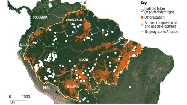 mapa com tribos isoladas em 2019