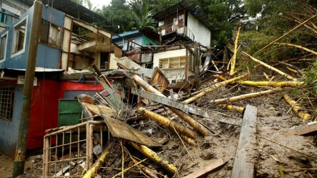 Casas destruídas pela tempestade tropical Nate, em 5 de outubro de 2017.