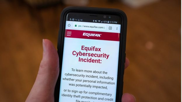 An image showing an Equifax cyber breach warning on a phone