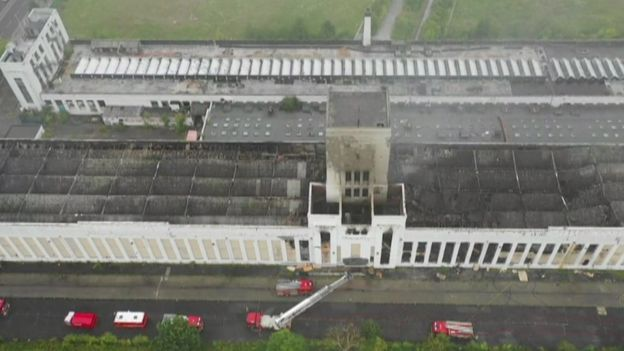 Drone footage of building after fire