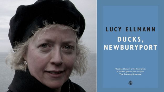 Lucy Ellmann and the book jacket for Ducks, Newburyport