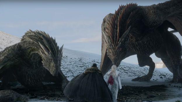 Daenerys, Jon y dos dragones