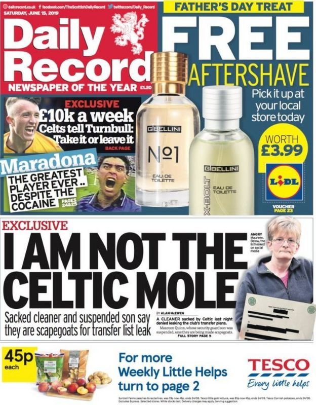 Scotland's papers: Celtic 'scapegoat' and killer carers - BBC News