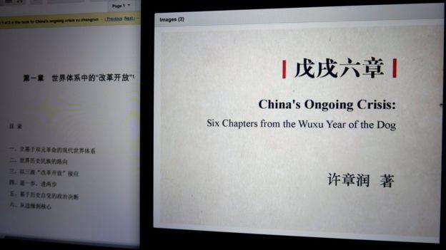 许章润《戊戌六章》网上书影(BBC中文照片21/8/2020)