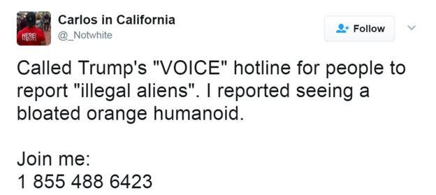 Tweet reads: Called Trump's