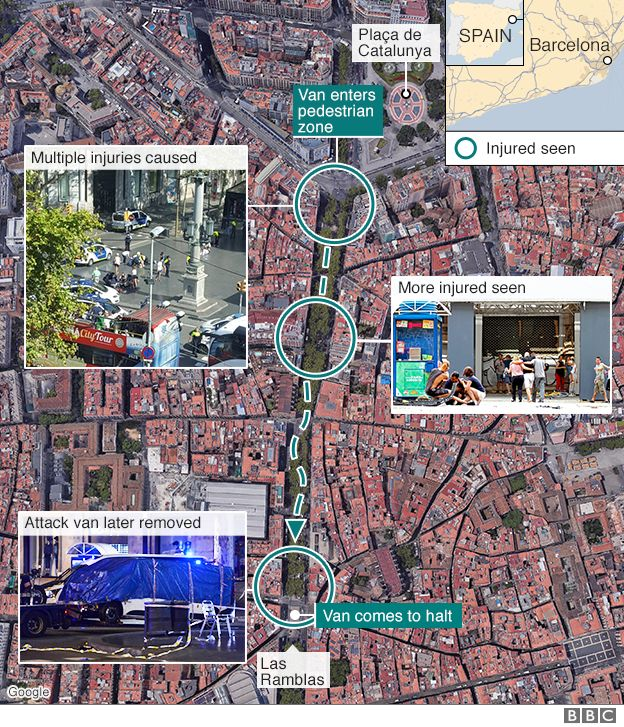 Map showing the location of the Barcelona attack and those injured