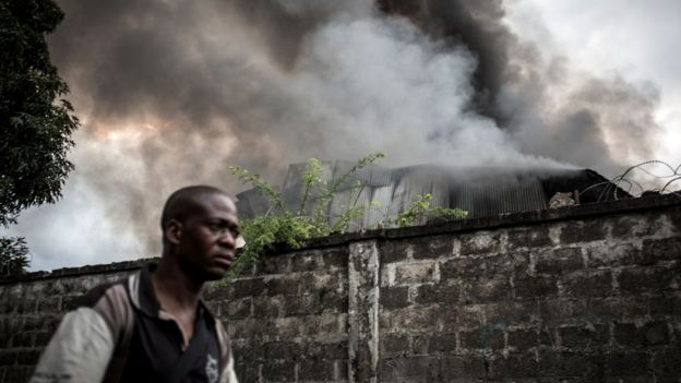 Smoke burning out of the electoral commission warehouse in Kinshasa
