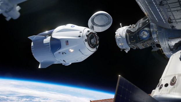 Artwork: Crew Dragon approaches ISS