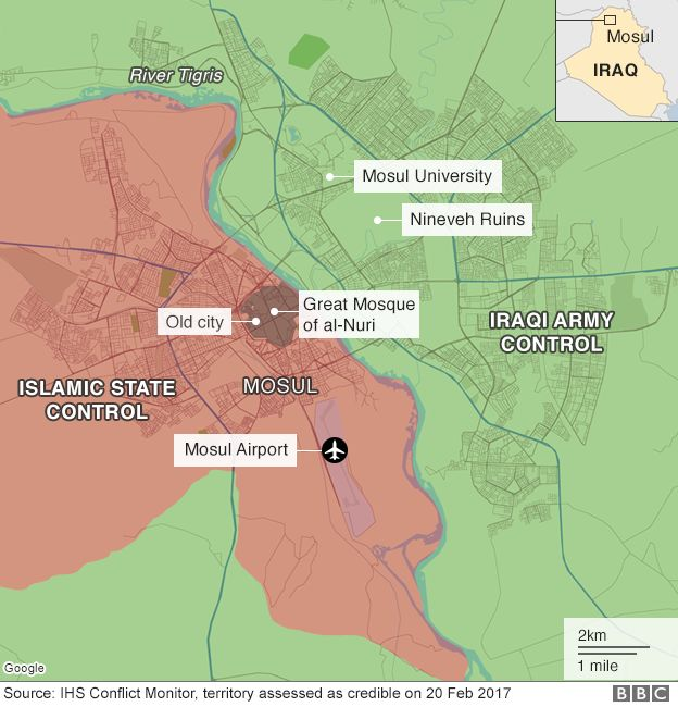 Mosul map of lines of control