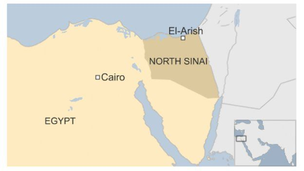 Map of Egypt showing North Sinai