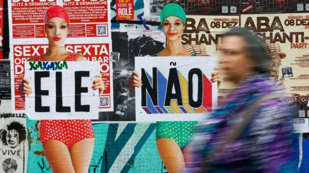 Afiches contra Bolsonaro